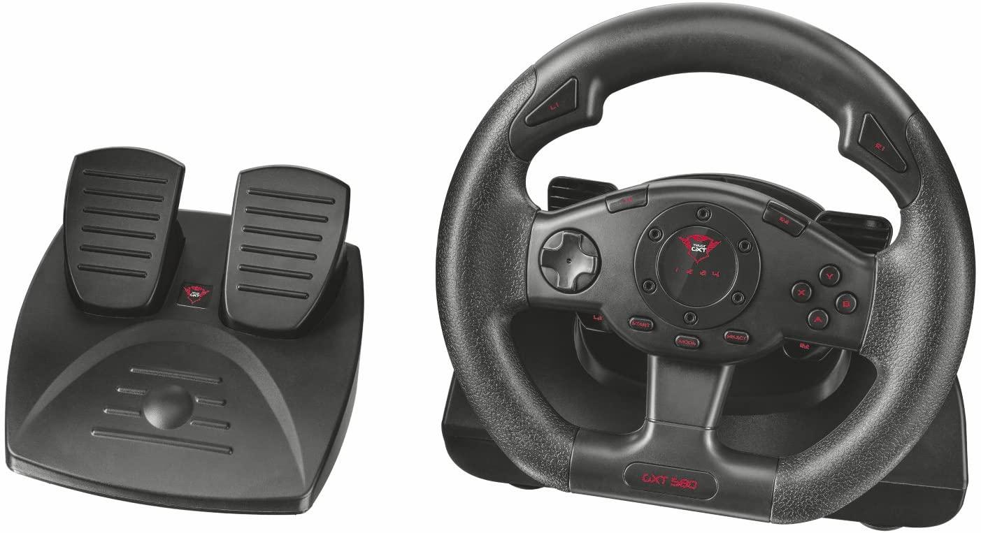 Trust Volante y Pedales GXT 580 Sano Vibration Feedback Negro