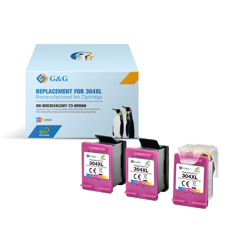 Compatible G&G HP 304XL color Pack de 3 Cartuchos de Tinta Remanufacturados - Eco Saver - Muestra nivel de tinta - Reemplaza N9K07AE/N9K05AE