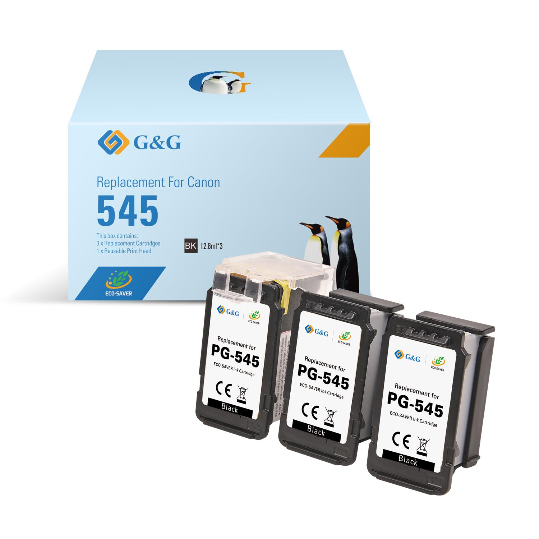 Compatible G&G Canon PG545 negro Pack de 3 Cartuchos de Tinta Remanufacturados - Eco Saver - Muestra nivel de tinta - Reemplaza 8286B001/8287B001
