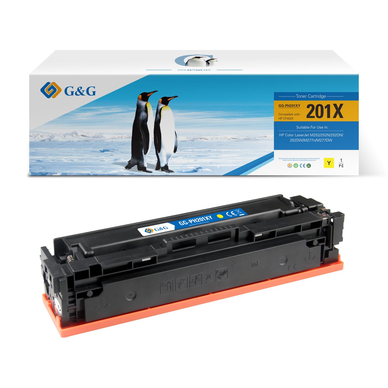 Compatible G&G HP CF402X/CF402A toner amarillo - Reemplaza 201X/201A
