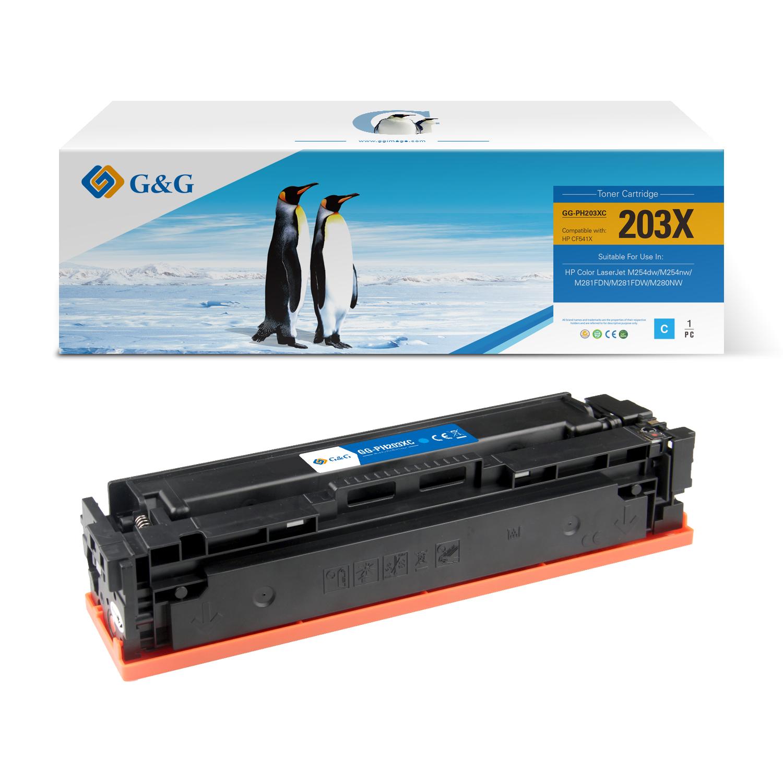 Compatible G&G HP CF541X/CF541A/CF401X/CF401A toner cian - Reemplaza 203X/203A/201X/201A