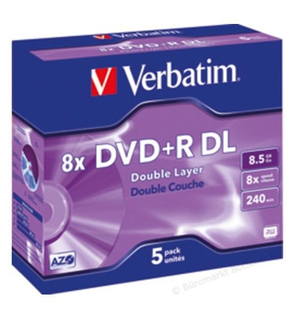 Verbatim DVD+R Doble Capa 8x 8.5GB Caja (Pack 5 Uds)