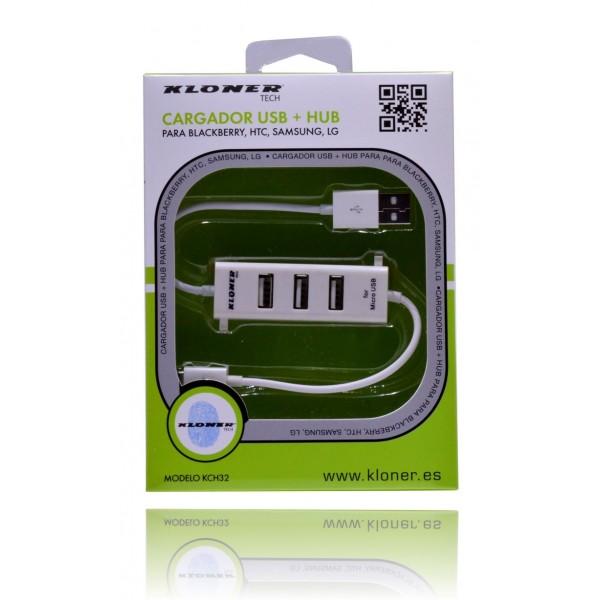 Kloner KCH32 Cargador USB a Micro USB + Hub 3 Puertos