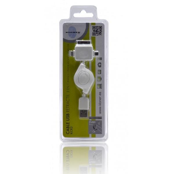 Kloner KCR2 Cable USB Retractil 3 en 1 (iPhone 5, iPhone 4 y Micro USB)