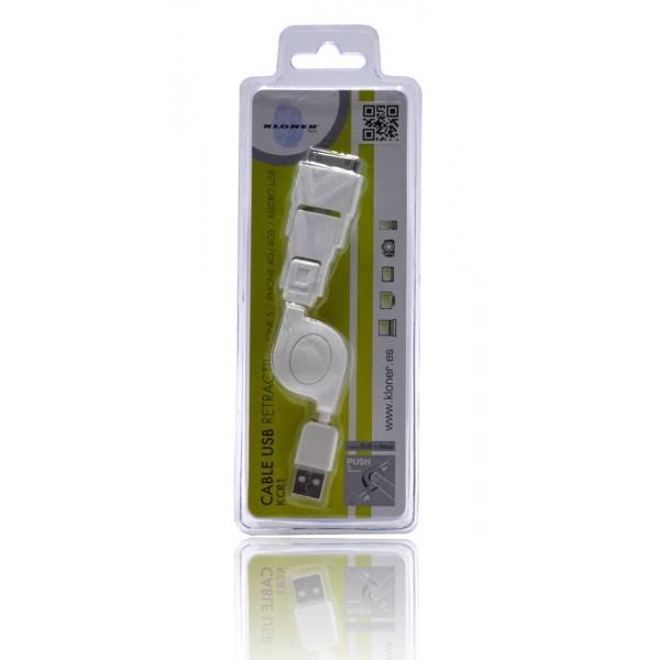 Kloner Cable USB Retractil 3 en 1 (iPhone 5, iPhone 4 y Micro USB)