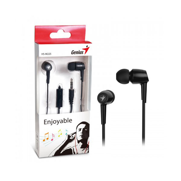 Genius Auriculares con Microfono HS-M225 Negro (Interruptor llamadas)