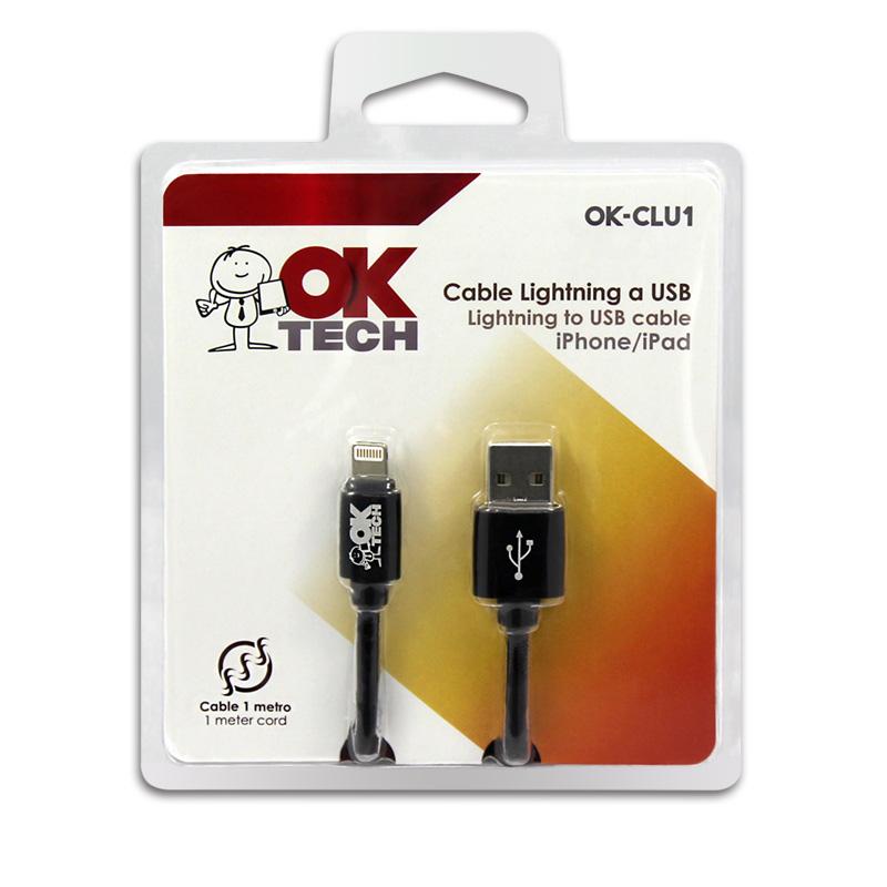 OkTech OK-CLU1 Cable Lightning iPhone/iPad a USB m/m 1m (Carga y Sincroniza)