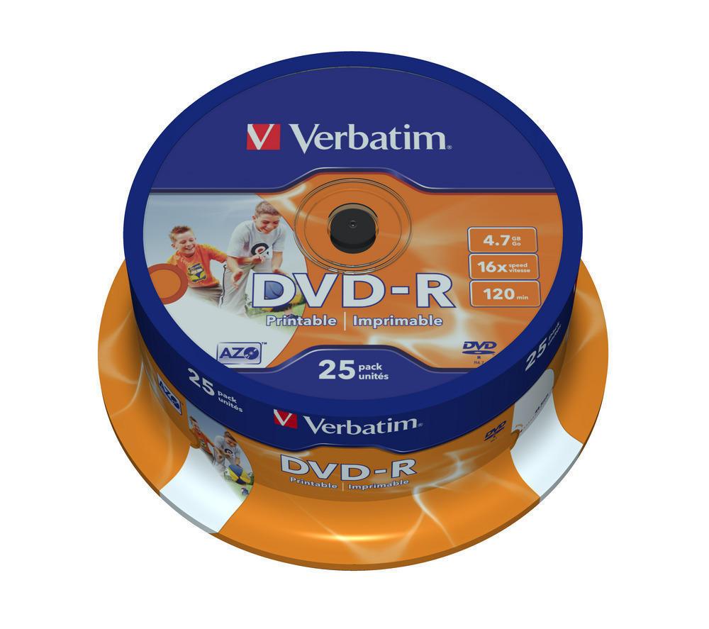 Verbatim DVD-R Printables 16x 4.7GB (Tarrina 25 Uds)