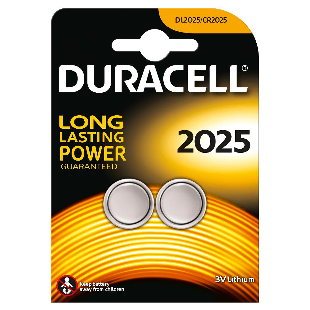 Duracell DL2025B2 Pila de Boton de Litio CR2025 3V (2 unidades)