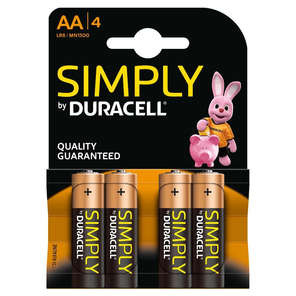Duracell MN1500B4S Pilas Alcalinas AA LR6 1.5V Simply Power (4 unidades)