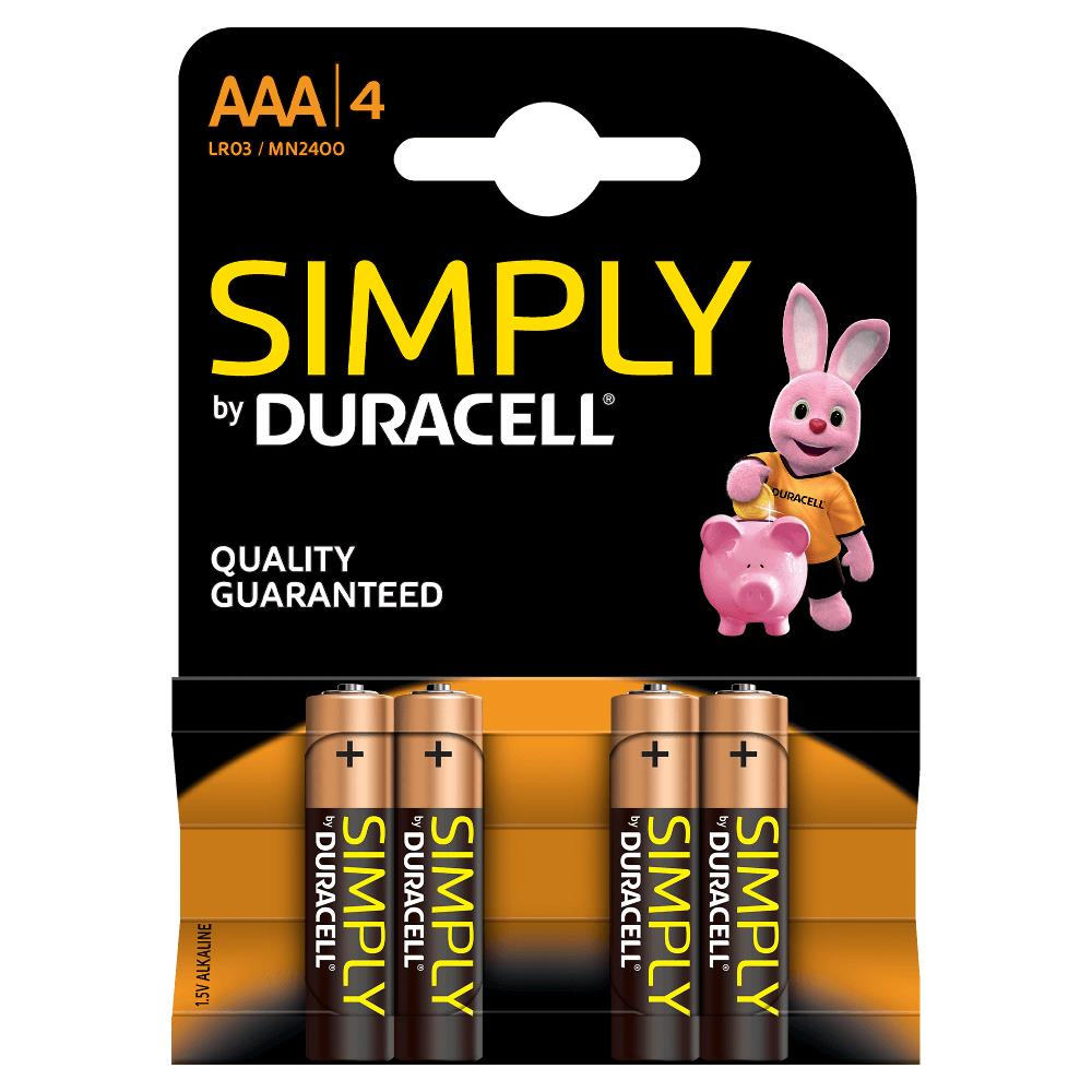 Duracell MN2400B4S Pilas Alcalinas AAA LR03 1.5V Simply Power (4 unidades)