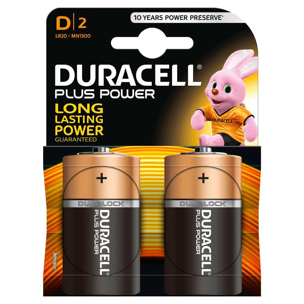 Duracell MN1300B2 Pilas Alcalinas D LR20 1.5V Plus Power (2 unidades)