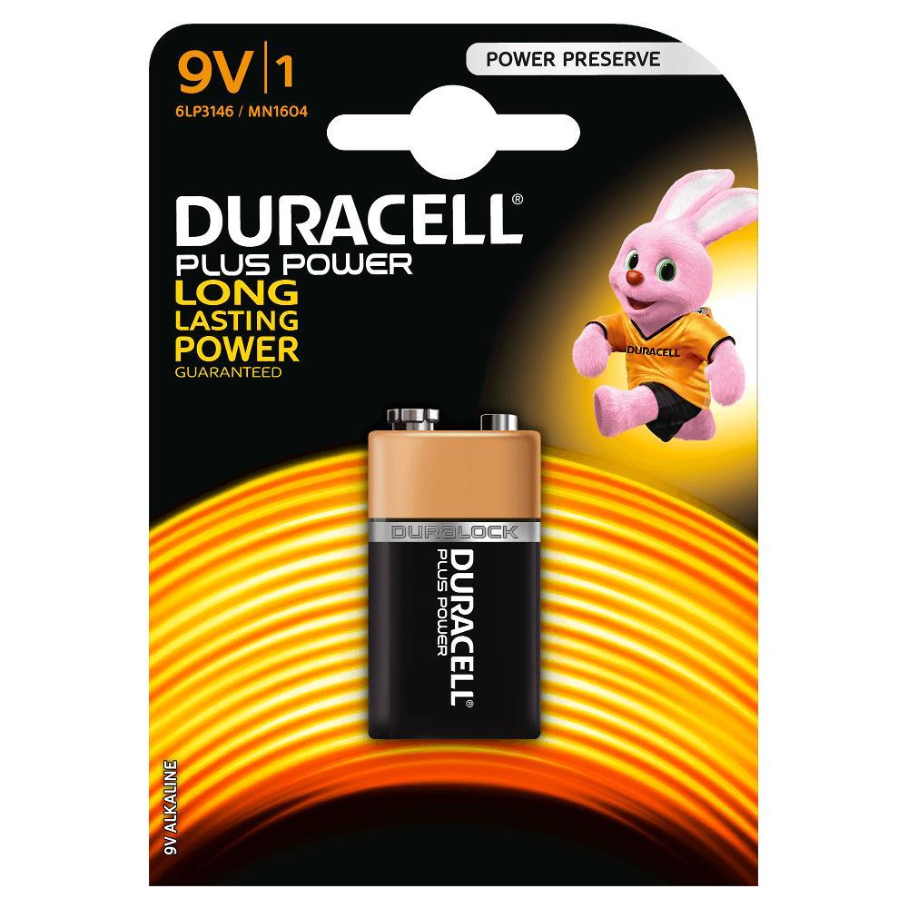 Duracell MN1604B1 Pila Alcalina 9V 6LP3146 Plus Power (1 unidad)