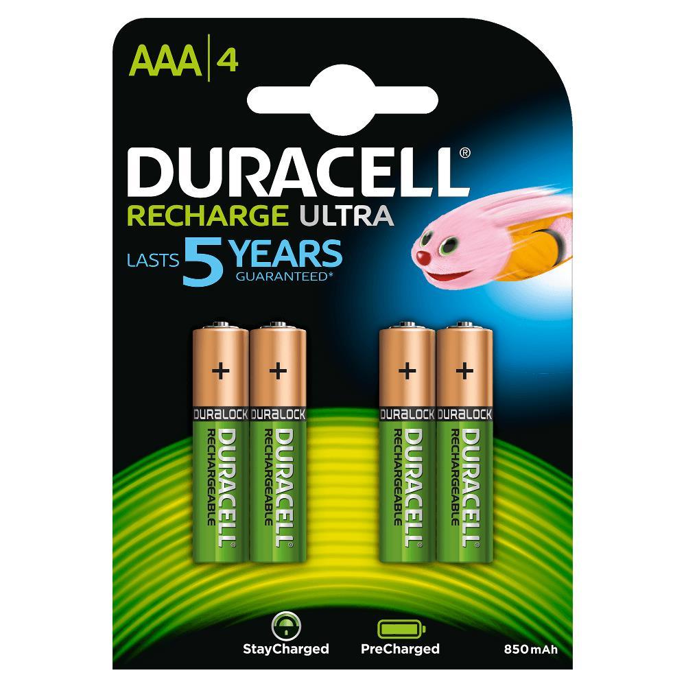 Duracell HR03-A Pilas Recargables NiHM AAA LR03 1.2V 850mAh Ultra (4 unidades)