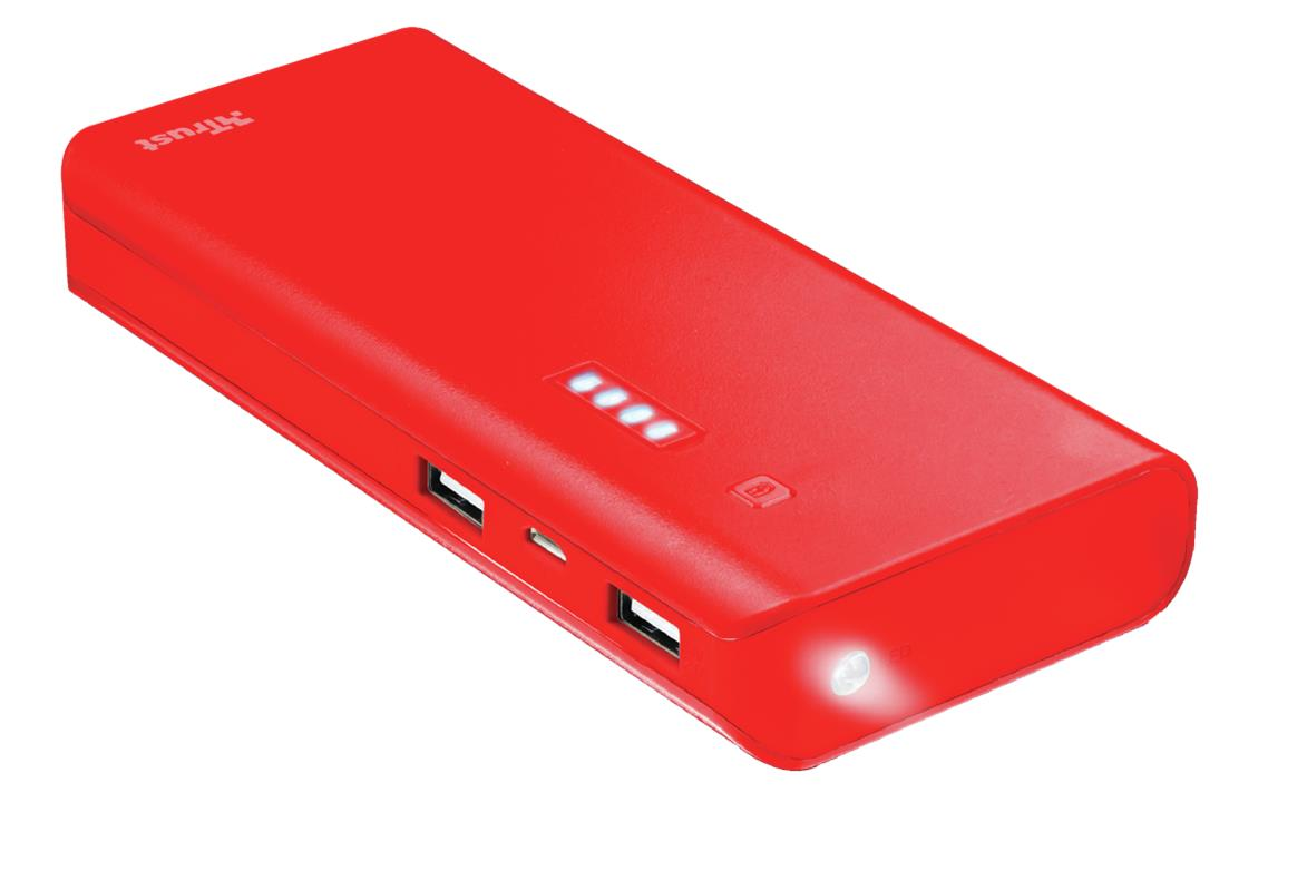 Trust 22752 Bateria Externa/Power Bank 10000mAh Roja