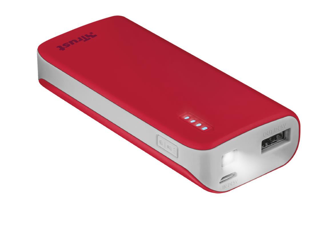 Trust 21226 Bateria Externa/Power Bank 4400mAh Roja