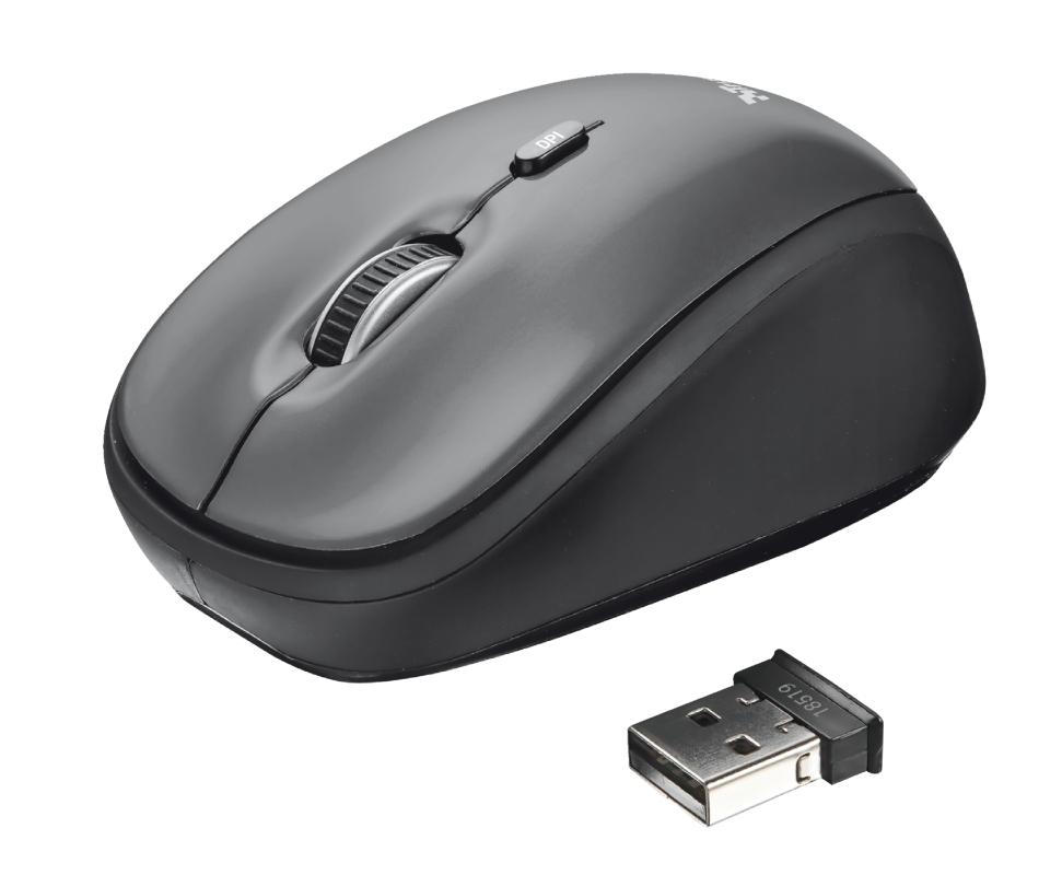 Trust 18519 Raton Inalambrico USB 1600dpi Yvi Negro