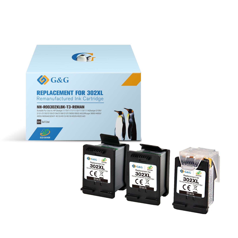 Compatible G&G HP 302XL negro Pack de 3 Cartuchos de Tinta Remanufacturados - Eco Saver - Muestra nivel de tinta - Reemplaza F6U68AE/F6U66AE