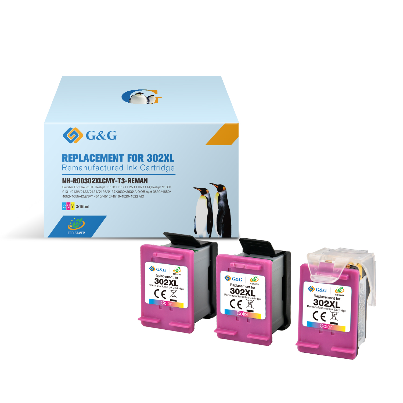 Compatible G&G HP 302XL color Pack de 3 Cartuchos de Tinta Remanufacturados - Eco Saver - Muestra nivel de tinta - Reemplaza F6U67AE/F6U65AE